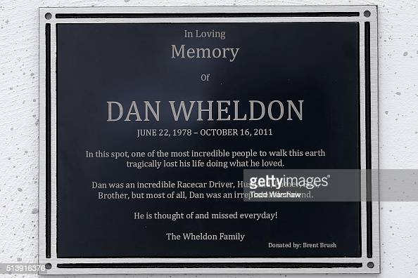 A memorial plaque is seen outisde of turn two for Dan Wheldon during the NASCAR Xfinity Series Boyd Gaming 300 at Las Vegas Motor Speedway on March 5...