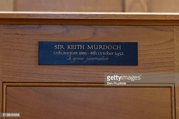 A memorial plaques for Sir Keith Murdoch in St Brides' church on March 3 2016 in London England Rupert Murdoch owner of News UK married model Jerry...