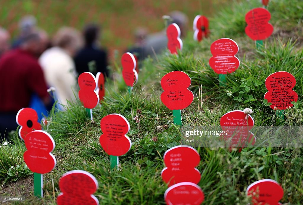 Memorial poppies placed in front of the Thiepval Museum ahead of the 100th anniversary of the beginning of the Battle of the Somme at the Thiepval memorial to the Missing on July 1, 2016 in Thiepval, France. The event is part of the Commemoration of the Centenary of the Battle of the Somme at the Commonwealth War Graves Commission Thiepval Memorial in Thiepval, France, where 70,000 British and Commonwealth soldiers with no known grave are commemorated.