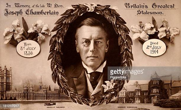 A memorial postcard of The Right Honourable Joseph Chamberlain 'Britain's Greatest Statesman' published circa 1914