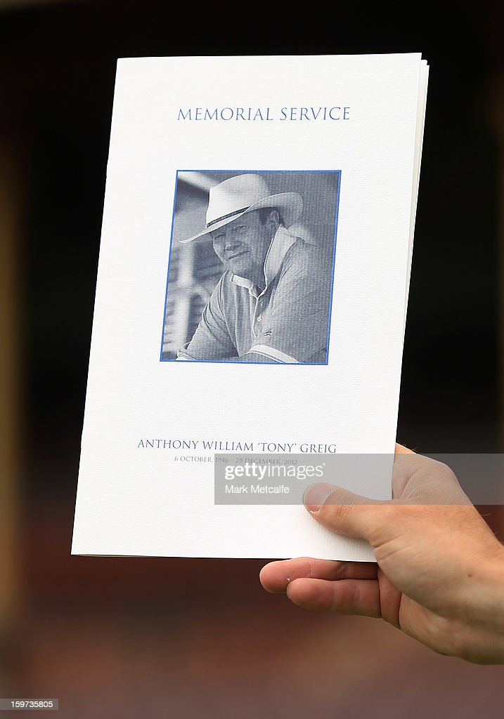 A memorial service booklet is seen during the Tony Greig memorial service at Sydney Cricket Ground on January 20, 2013 in Sydney, Australia.