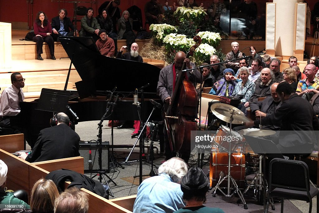 A memorial service for the tenor saxophonist David S. Ware at St. Peter's Church on Monday night, January 7, 2013.This image:From left, Matthew Shipp, William Parker and Guillermo E. Brown.