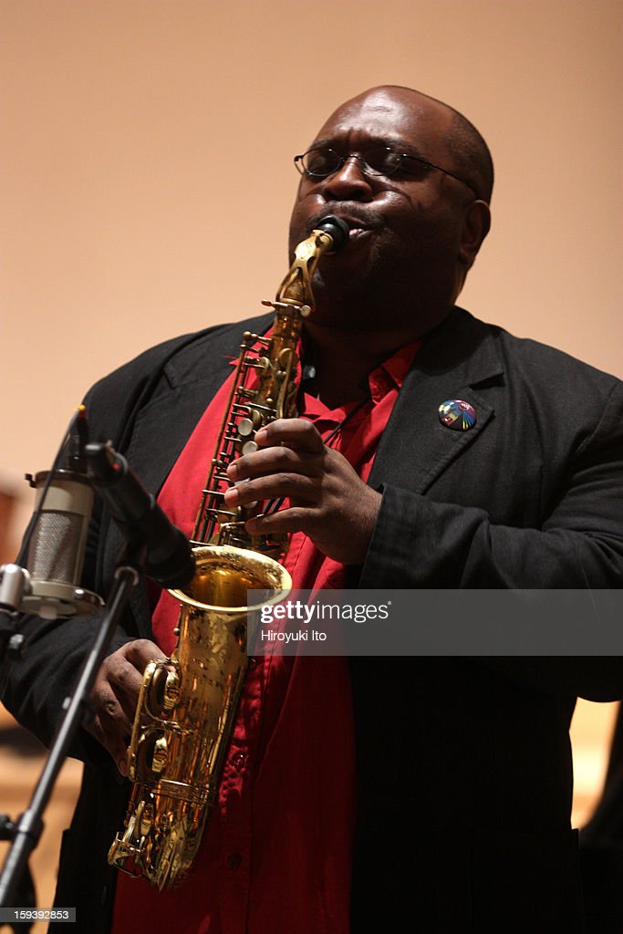 A memorial service for the tenor saxophonist David S. Ware at St. Peter's Church on Monday night, January 7, 2013.This image:Darius Jones.