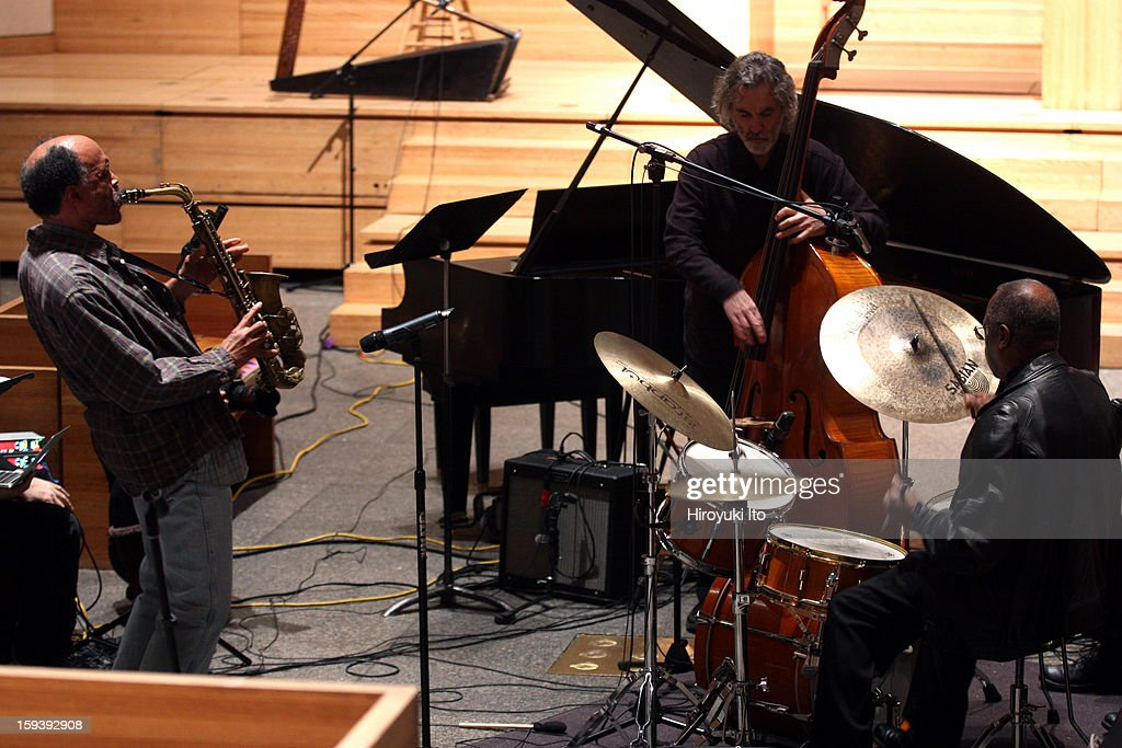 A memorial service for the tenor saxophonist David S. Ware at St. Peter's Church on Monday night, January 7, 2013.This image:From left, Daniel Carter, Joe Morris and Andrew Cyrille.