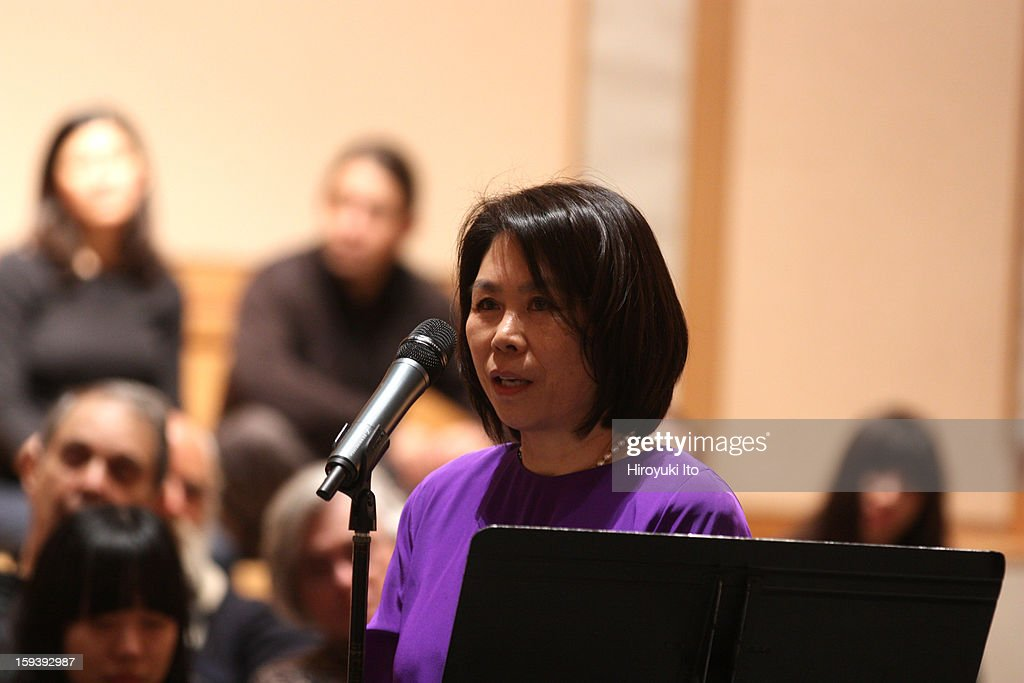 A memorial service for the tenor saxophonist David S. Ware at St. Peter's Church on Monday night, January 7, 2013.This image:Setsuko S. Ware speaking about her late husband David.