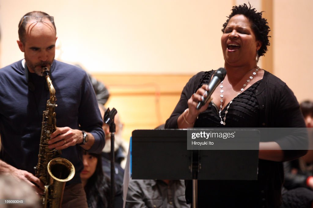 A memorial service for the tenor saxophonist David S. Ware at St. Peter's Church on Monday night, January 7, 2013.This image:Rob Brown and Fay Victor.
