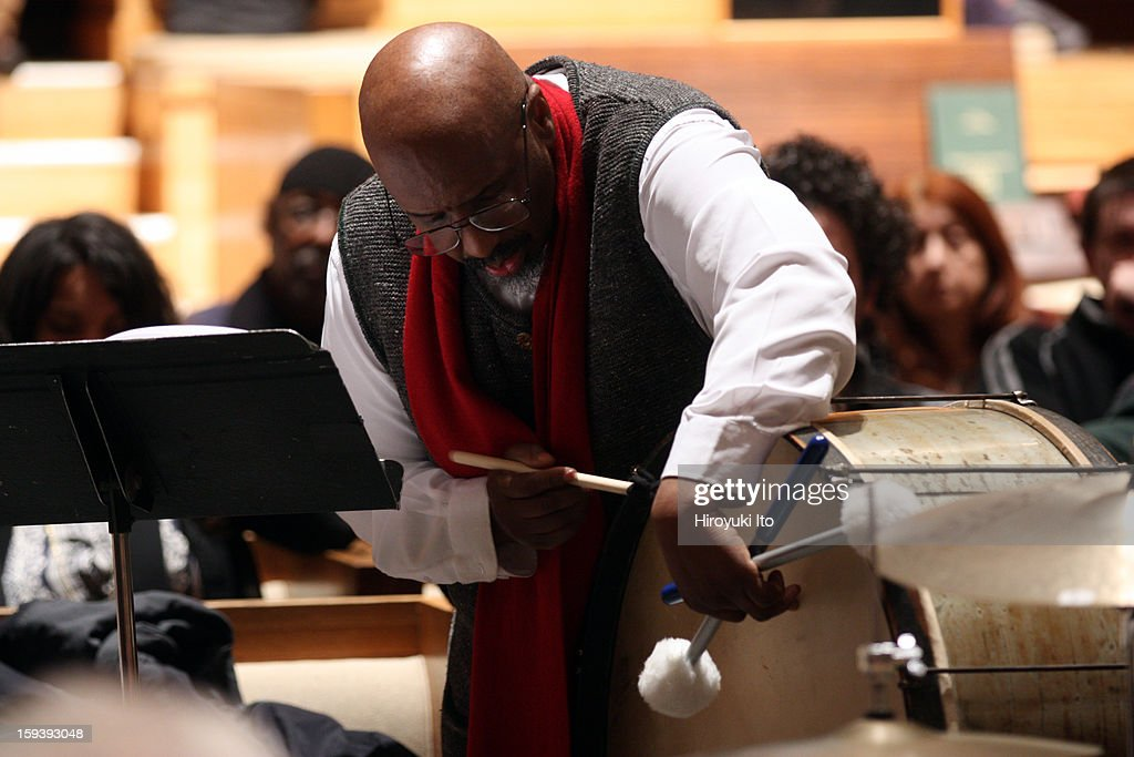 A memorial service for the tenor saxophonist David S. Ware at St. Peter's Church on Monday night, January 7, 2013.This image:William Parker.