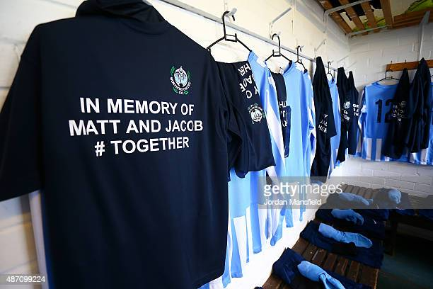 A memorial shirt hangs in the Worthing United dressing room in memory of Matthew Grimstone and Jacob Schilt two players from Worthing United FC that...