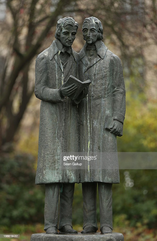 A memorial showing brothers Jacob and Wilhelm Grimm, authors of Grimms' Fairy Tales, stands in a small park on November 20, 2012 in Kassel, Germany.The 200th anniversary of the first publication of the fairy tales, which the brothers collected from oral traditions in the region between Frankfurt and Bremen in the early 19th century and include such global classics as Sleeping Beauty, Little Red Riding Hood, Rapunzel, Cinderella and Hansel and Gretel, will take place this coming December 20th.