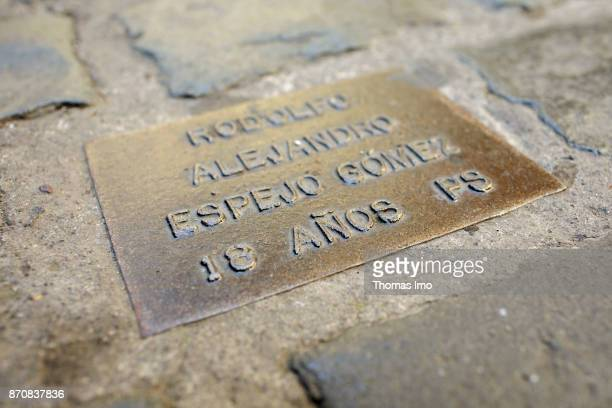 Memorial stone for victims of the military dictatorship in Santiago de Chile capital of Chile on October 15 2017 in Santiago de Chile Chile