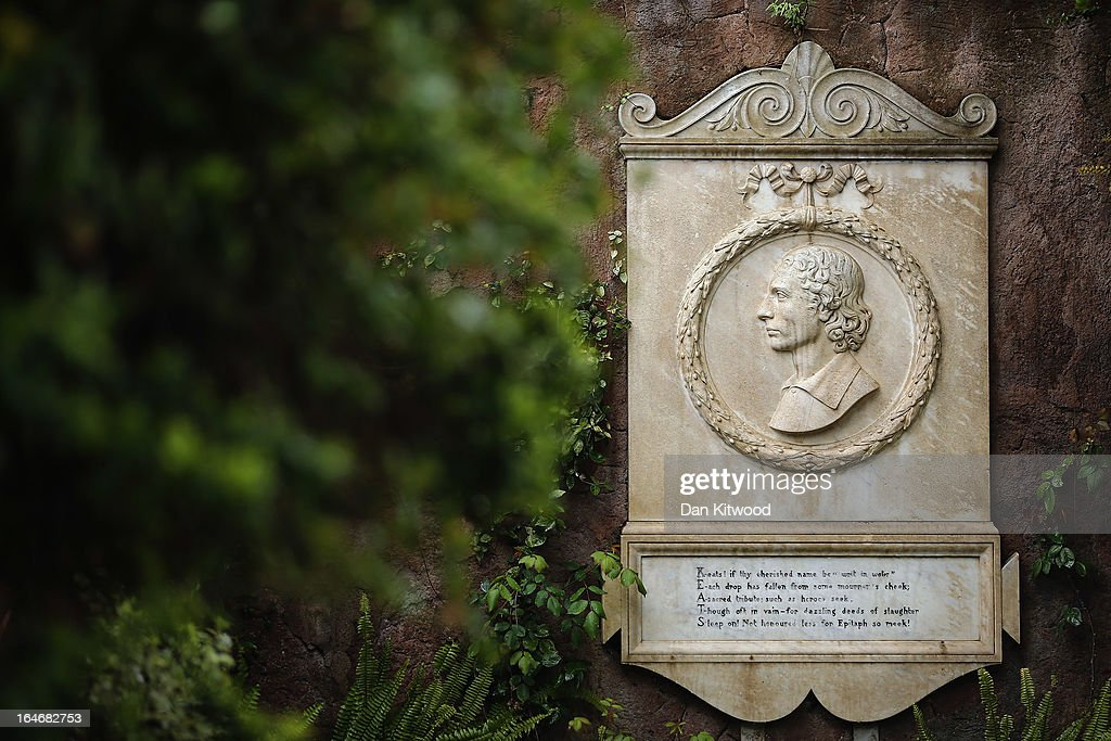 A memorial stone to poet John Keats, (1795-1821) in Rome's 'Non Catholic Cemetery' on March 26, 2013 in Rome, Italy. John Keats, one of England's most famous poets died early in 1820 of tuberculosis aged 25, after travelling to Italy in search of a better climate to help cure him of the disease. Rome's Non-Catholic Cemetery contains one of the highest densities of famous and important graves anywhere in the world. It is the final resting-place of the poets Percy Shelley and John Keats, as well as many other painters, sculptors and authors who died in Rome. The cemetery which began it's use in 1730 continues today, containing graves of Orthodox Christians, Jews, Muslims and other non-Christians, and is one of the oldest burial grounds in Europe.