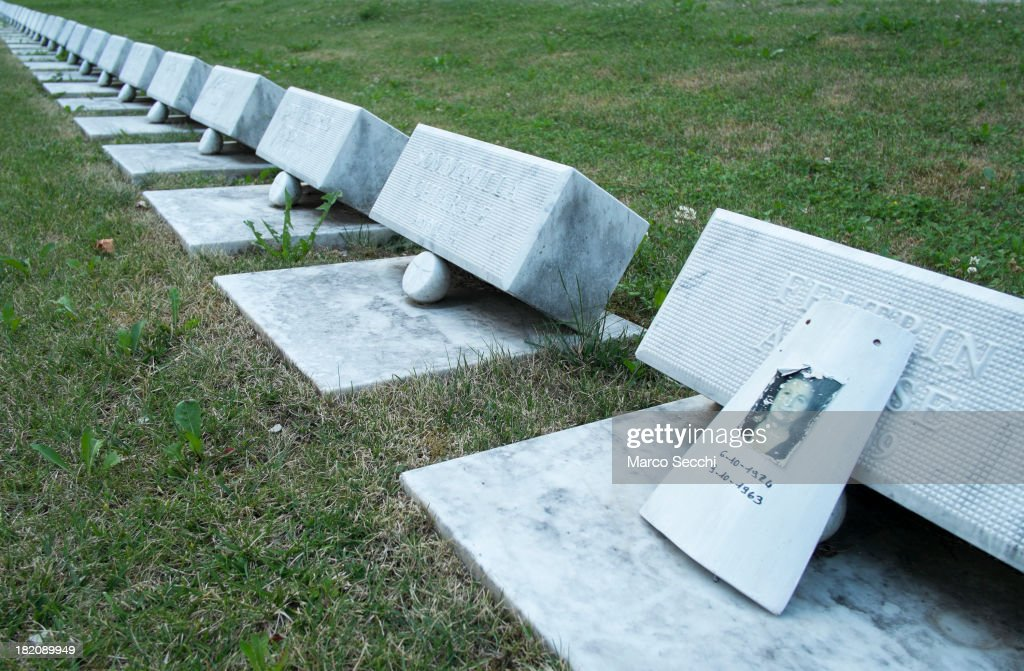 Memorial stones honouring victims of the 1963 Vajont Dam tragedy at the Vajont Cemetery on September 27, 2013 in Longarone, Italy. The Vajont Dam tragedy happened on the night of the October 9, 1963, when a landslide broke away from Monte Toc and fell into the Vajont River, causing a wave that struck the neighboring towns and killing more than 2000 people.