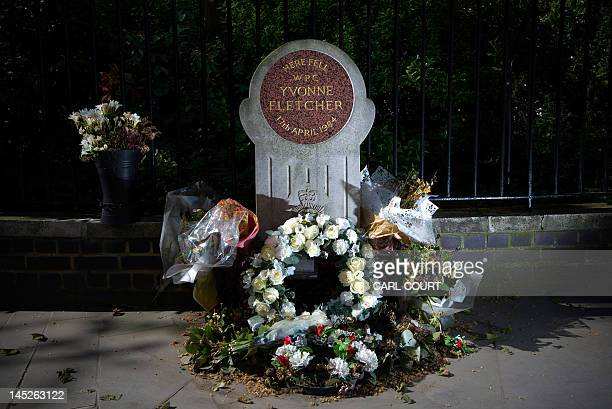 A memorial to British policewoman Yvonne Fletcher is pictured in central London on May 25 2012 Fletcher was shot dead outside the Libyan embassy...