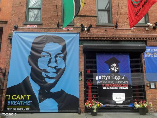 A memorial to Eric Garner outside film director Spike Lee's studio in Fort Greene Brooklyn Eric Garner died July 2014 after being arrested by police...