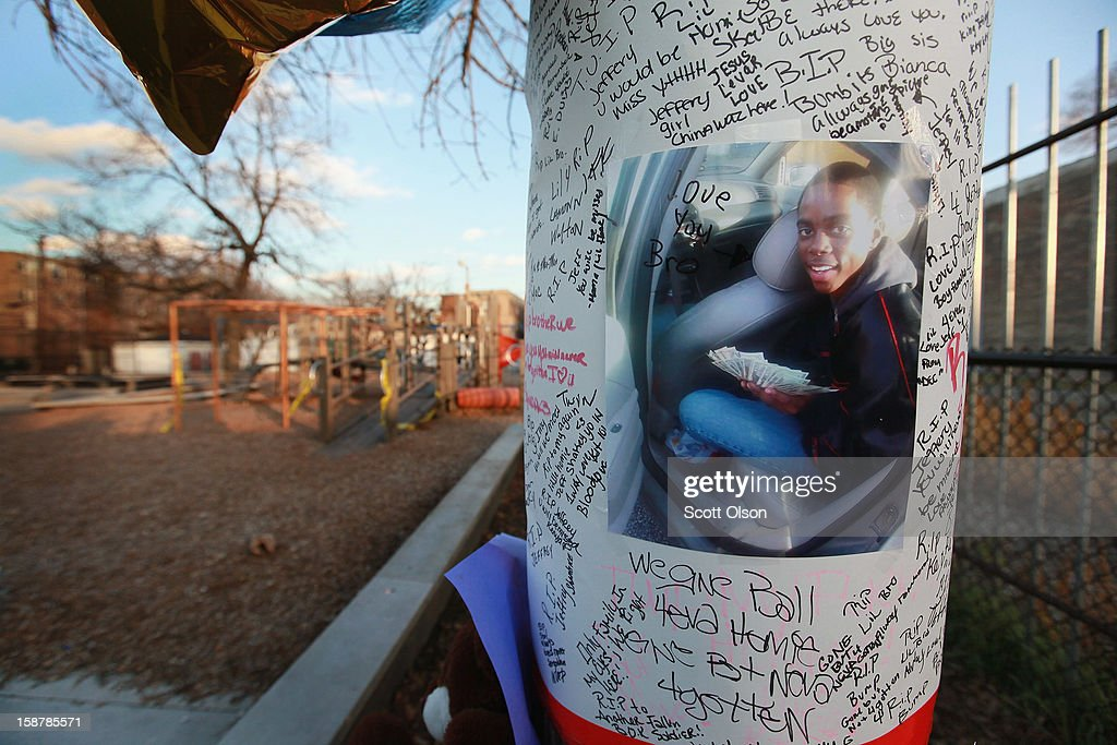 A memorial to sixteen-year-old Jeffrey Stewart hangs from a tree in the playground where he collapsed after being shot on December 9, in the Humboldt Park neighborhood on the city's West Side December 11, 2012 in Chicago, Illinois. Stewart was shot about a block away then ran to the playground. He was shot along with 17-year-old Anton Reed who survived with a gunshot wound to the hand. Reed was later arrested after vomiting three baggies of what appeared to be cocaine. On December 28, 2012, after news organizations began reporting about what was believed to be the 500th murder in Chicago this year, the Chicago Police Department's News Affairs Office issued a statement stating the city's murder total remains at 499 because classification of one death investigation remains pending. They would not specify which death is pending. The total number of murders in the city has only once exceeded 500 victims since 2004. The murder rate is up about 11 percent from 2011, much of which is attributed to growing gang violence.