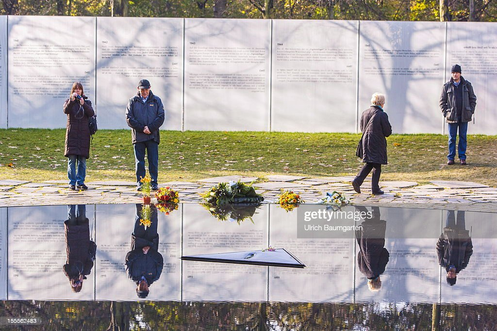 Memorial to the Sinti and Roma of Europe Murdered under the National Socialist Regime, on October 31 in Berlin, Germany.