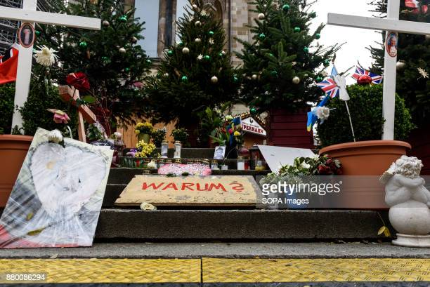 Memorial to the victims of the terrorist attack on the Christmas market in 2016 seen at the Christmas market on Breitscheidplatz as it opens its...