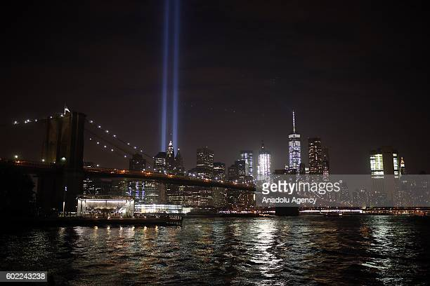 Memorial 'Tribute in Light' is seen in Manhattan skyline from Brooklyn Bridge Park in Brooklyn New York USA on September 10 2016 on a day before the...