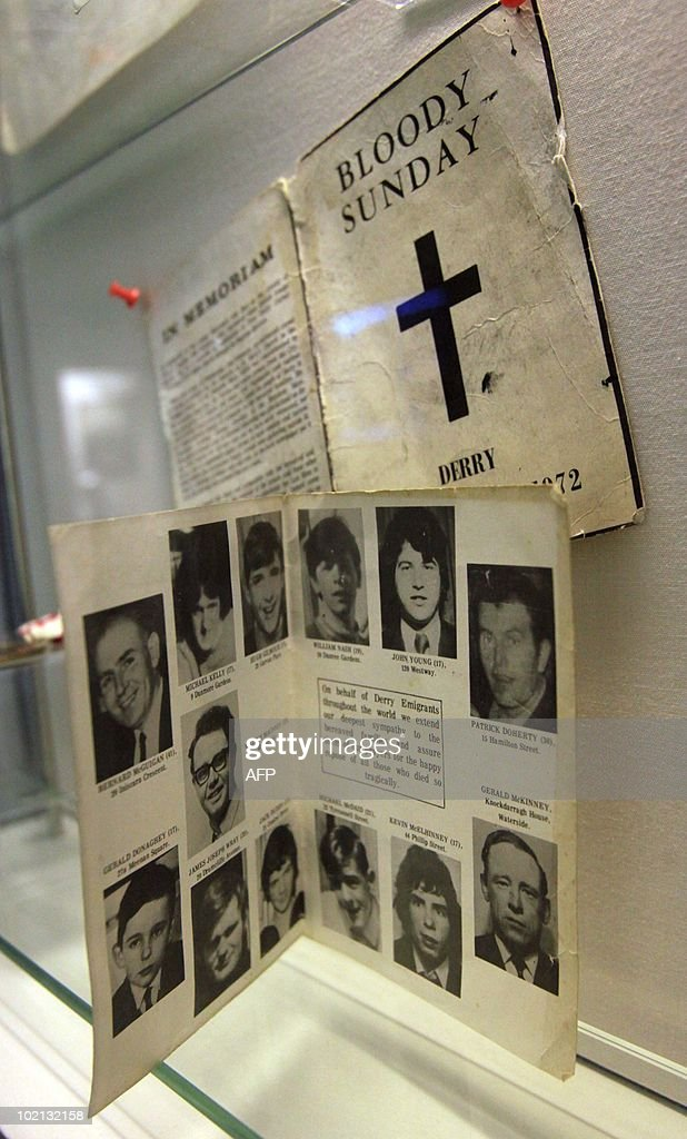 A memorian card with the photographs of the 13 killed by British soldiers on January 30, 1972 in the Bogside area of Londonderry, in Northern Ireland is shown at the Museum of Free Derry in Londonderry on June 11, 2010. The Saville Inquiry into Bloody Sunday will be published on June 15, 2010 after 12 years and a cost of £190 million pounds (275 million dollars, 230 million euros), the 5,000-page report examines the events of January 30, 1972 in Londonderry, Northern Ireland, when 13 civilians were shot dead by British soldiers at a civil rights march. Another man died later from his wounds. AFP PHOTO/ Peter Muhly