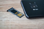 Memory card micro sd and micro sim card tray in smartphone