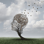 Memory loss concept and Alzheimer patient surreal symbol as a medical mental health care concept with an empty head shaped  tree and a group of birds shaped as a brain for neurology and dementia or lo