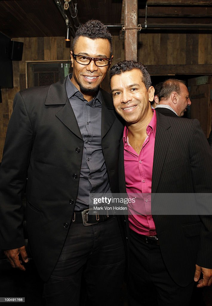 Memphis associate choreographer Edgar Godineaux and Choreographer Sergio Trujillo attend Everlon Diamond Knot Strength Of Love Dinner For Cast of Broadway's Memphis at Double Crown Restaurant on May 24, 2010 in New York City.