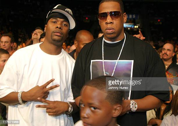 Memphis Bleek and JayZ during Floyd Mayweather Jr Versus DeMarcus 'Chop Chop' Corley May 22 2004 at Boardwalk Hall in Atlantic City New Jersey United...