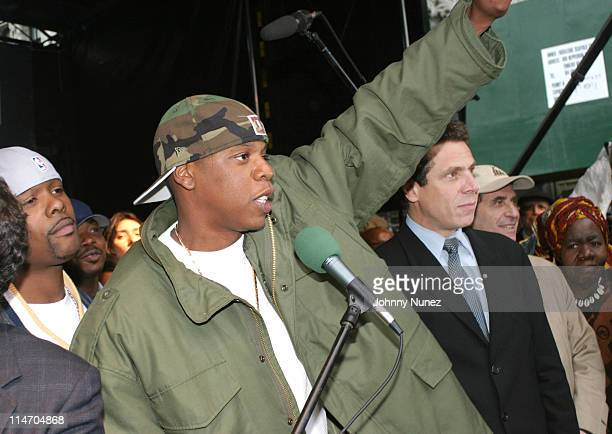 Memphis Bleek JayZ and Andrew Cuomo during The New York City Hip Hop Summit Rally for the Repeal of the Rockefeller Drug Laws at City Hall in New...