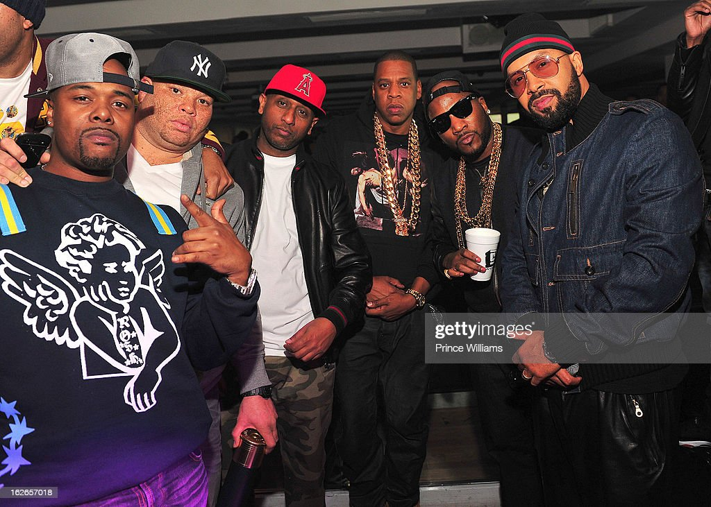 Memphis Bleek, Sean Pecas, Alex Gidewon, Jay-Z, Young Jeezy and Kenny Burns attend the So So Def anniversary party hosted by Jay Z at Compound on February 23, 2013 in Atlanta, Georgia.