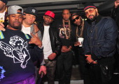Memphis Bleek Sean Pecas Alex Gidewon JayZ Young Jeezy and Kenny Burns attend the So So Def anniversary party hosted by Jay Z at Compound on February...