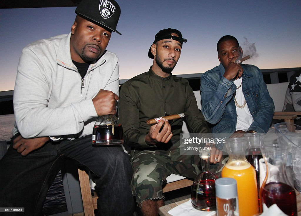 Memphis Bleek, Swizz Beatz and Jay Z attend the Jay-Z And Beyonce Summer Ends With D'USSE Cognac Cocktails Celebration at La Marina Restaurant Bar Beach Lounge on September 23, 2012 in New York City.