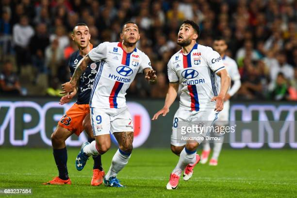 Memphis Depay and Nabil Fekir of Lyon during the Ligue 1 match between Montpellier and Olympique Lyonnais Lyon at Stade de la Mosson on May 14 2017...