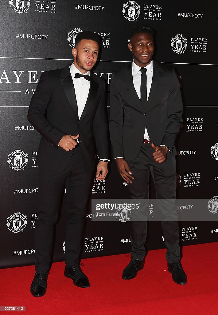 Memphis Depay and Timothy Fosu-Mensah of Manchester United arrives at the club's annual Player of the Year awards at Old Trafford on May 2, 2016 in Manchester, England.