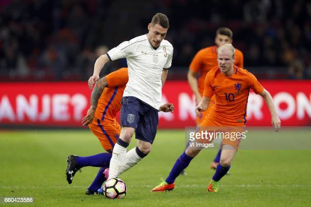 Memphis Depay of Holland Andrea Belotti of Italy Wesley Hoedt of Holland Davy Klaassen of Hollandduring the friendly match between Netherlands and...