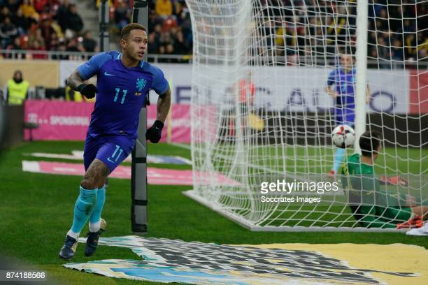 Memphis Depay of Holland celebrate 01 during the International Friendly match between Romania v Holland at the Arena Nationala on November 14 2017 in...