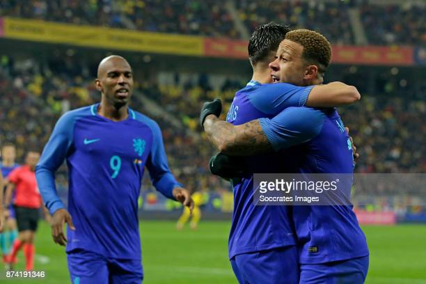 Memphis Depay of Holland celebrate 01 with Steven Berghuis of Holland during the International Friendly match between Romania v Holland at the Arena...