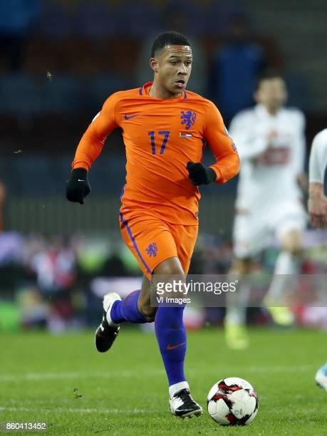 Memphis Depay of Holland during the FIFA World Cup 2018 qualifying match between Belarus and Netherlands on October 07 2017 at Borisov Arena in...