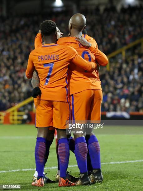 Memphis Depay of Holland Quincy Promes of Holland Ryan Babel of Holland Georginio Wijnaldum of Holland during the friendly match between Scotland and...