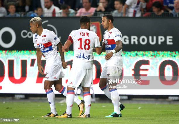 Memphis Depay of Lyon celebrates his goal with Mariano Diaz Nabil Fekir during the French Ligue 1 match between Stade Rennais and Olympique Lyonnais...
