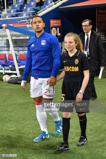 Memphis Depay of Lyon comes out for the Ligue 1 match between Olympique Lyonnais and AS Monaco at Stade des Lumieres on April 23 2017 in...