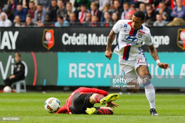 Memphis Depay of Lyon during the French Ligue 1 match between Rennes and Lyon at Roazhon Park on April 2 2017 in Rennes France