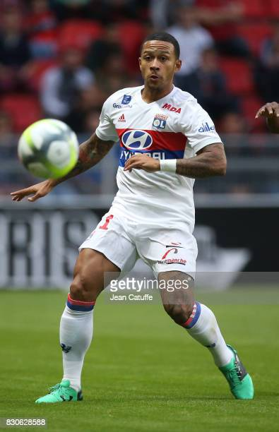 Memphis Depay of Lyon during the French Ligue 1 match between Stade Rennais and Olympique Lyonnais at Roazhon Park on August 11 2017 in Rennes France