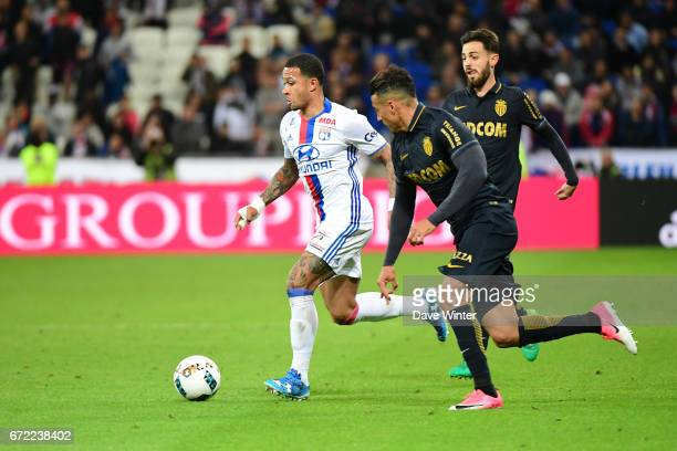 Memphis Depay of Lyon during the Ligue 1 match between Olympique Lyonnais and AS Monaco at Stade des Lumieres on April 23 2017 in DecinesCharpieu...