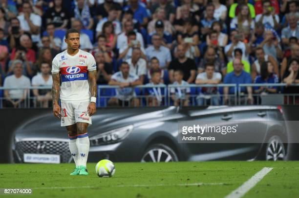 Memphis Depay of Lyon during the Ligue 1 match between Olympique Lyonnais and Strasbourg at Parc Olympique on August 5 2017 in Lyon