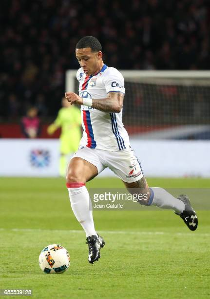 Memphis Depay of Lyon in action during the French Ligue 1 match between Paris SaintGermain and Olympique Lyonnais at Parc des Princes stadium on...