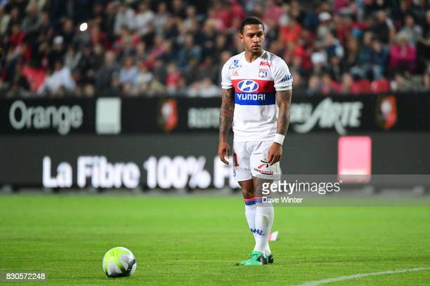 Memphis Depay of Lyon lines up the freekick from which he opens the scoring during the Ligue 1 match between Stade Rennais and Olympique Lyonnais at...