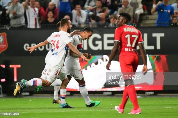 Memphis Depay of Lyon puts his side 10 ahead during the Ligue 1 match between Stade Rennais and Olympique Lyonnais at Roazhon Park on August 11 2017...
