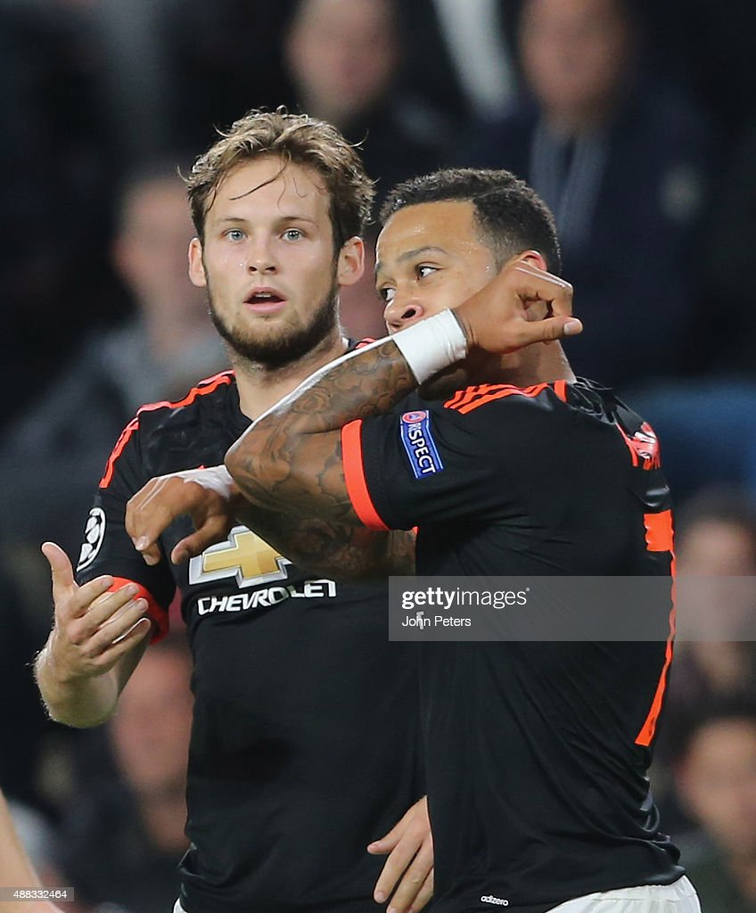 Memphis Depay of Manchester United celebrates scoring their first goal during the UEFA Champions League match between PSV Eindhoven and Manchester United at Philips Stadion on September 15, 2015 in Eindhoven, Netherlands.