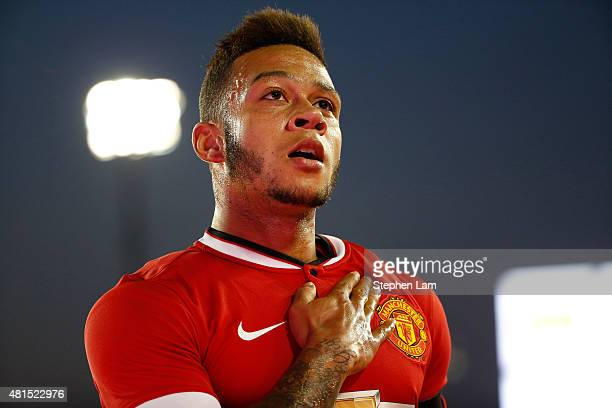 Memphis Depay of Manchester United gestures after scoring a goal during the first half of his International Champions Cup match against San Jose...