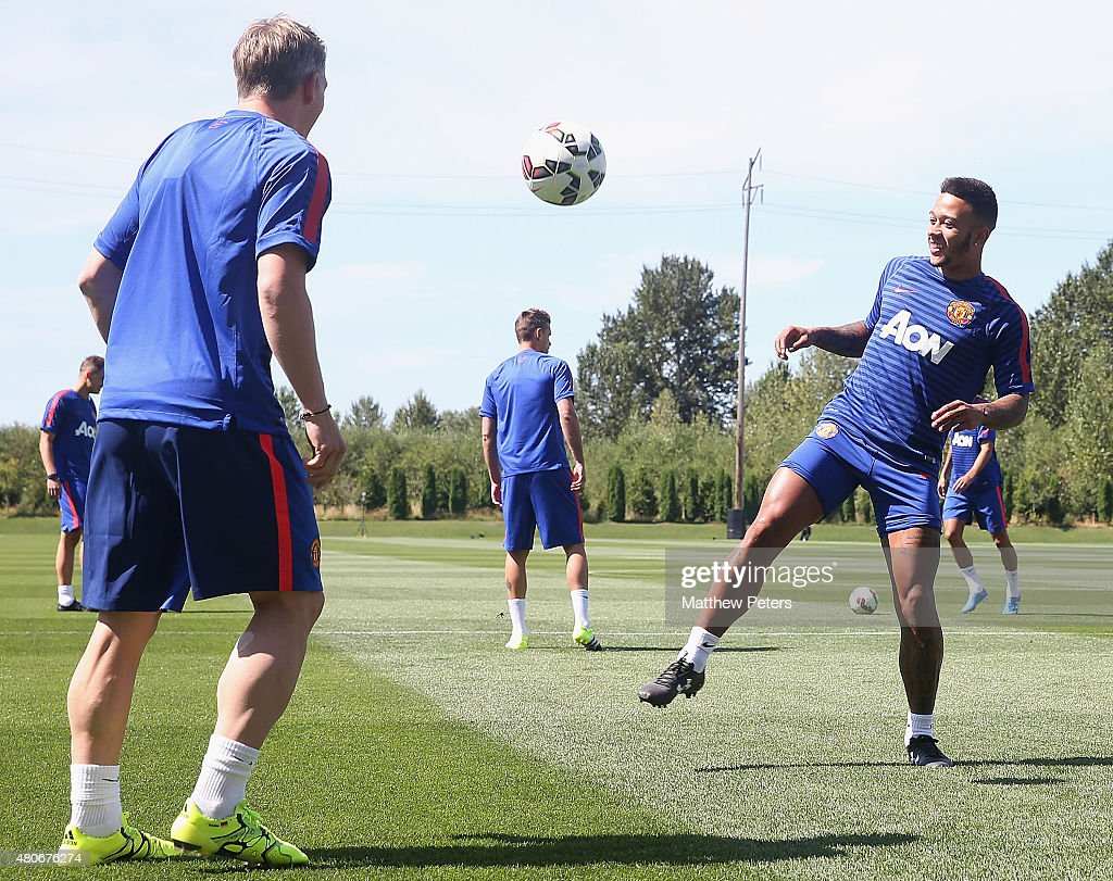 Memphis Depay of Manchester United in action during a first team training session as part of their preseason tour of the USA at VMAC on July 14 2015...